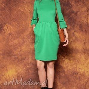 Zielona sukienka z bufkami, sukienka, bufki, zielona, elegancka, uniwersalna, wygodna