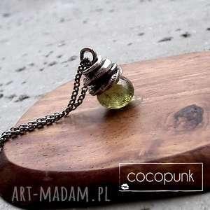 nowoczesny naszyjnik- srebro i granat grossular, nowoczesny, rockowy, surowy