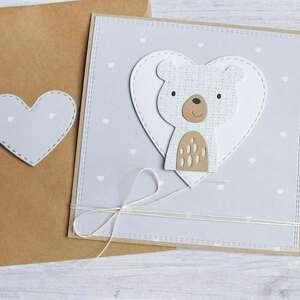 miś szaruś - kartka na roczek, narodziny, miś, urodzinki