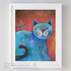 wesoły kotek - akwarela formatu 18/24 cm, kotek, akwarela, farba, ptaszek