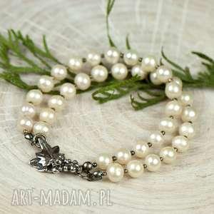 srebrna bransoletka z pereł a628, pereł