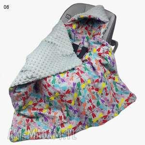 ręczne wykonanie pokoik dziecka kocyk do fotelika kolorowe ważki