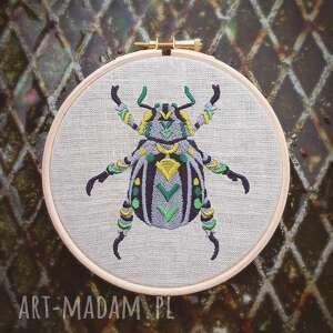 obrazek haftowany chrząszcz, obrazek, haftlen, żuczek, tamborek