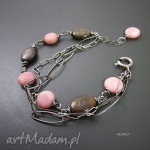 bronzyt z różowym opalem, srebro, bronzyt, opal