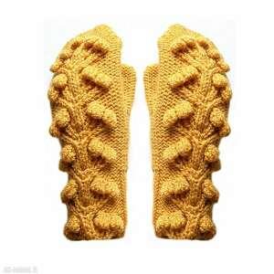 rękawiczki flora oranż, mitenki, rękawiczki, wełniane, na drutach, z jednym