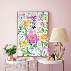 kwiaty a2, kwiaty, łąka, kwiat, plakat, grafika, obraz