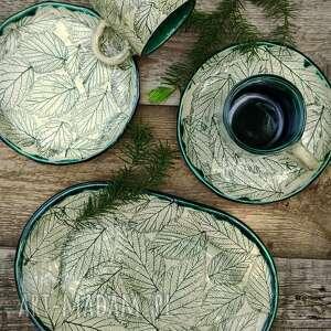 Zestaw jeżyna ceramika enio art kubek, talerzyk, patera, talerz,