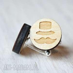 Drewniane spinki do mankietów Dżentelmen, drewniane, spinki, ekologiczne, wąsy