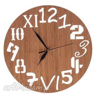 handmade zegary zegar z drewna bambusowego różne cyfry, naturalny
