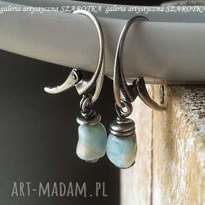 niezwykły błękit kolczyki z larimaru i srebra, larimar, srebro oksydowane