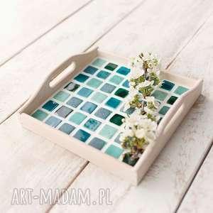 podkładki taca kwadratowa z mozaiką ceramiczną, taca, ceramika, mozaika, drewno