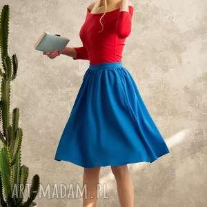 NIEBIESKA SPÓDNICA VOYAGE, spódnica, niebieska, rozkloszowana, uniwersalna, midi,