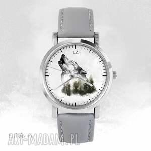 Prezent Zegarek - Wilk szary, skórzany, zegarek, bransoletka, wilk