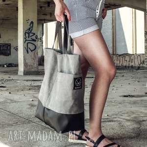 duża szara torba shopper na zamek, shopper, szaro czarna, pojemna