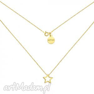złoty naszyjnik z gwiazdką - zawieszka gwiazdka, srebro, modny