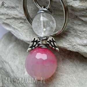 Prezent Anioł Agat z kryształem , brelok, klucze, torebka, prezent, agat