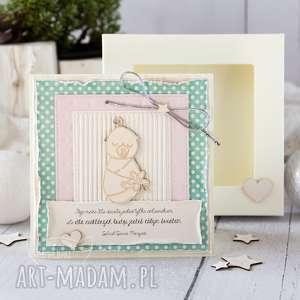 ręcznie robione scrapbooking kartki kartka z okazji narodzin, chrztu świętego