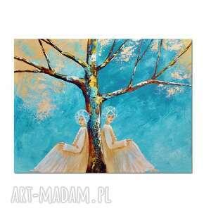 anioły sjesta, obraz ręcznie malowany, obraz, ręcznie, anioł