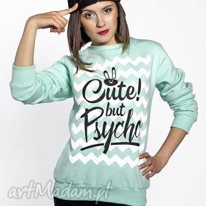 Prezent Bluza miętowa Cute but Psycho, mieta, ciepła, wygodna, nadruk, prezent