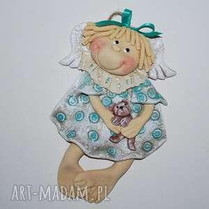 miś lubi się przytulać - aniołek - aniołek, prezent, dekoracja
