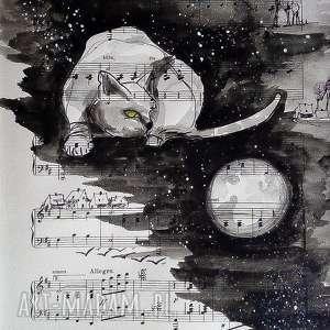 POLOWANIE NA KSIĘŻYC akwarela artystki Adriany Laube, akwarela, kot, polowanie