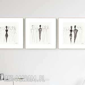 zestaw 3 grafik 30x30 cm wykonanych ręcznie, grafika czarno-biała, abstrakcja