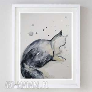 czarny kot-abstrakcja,akwarela formatu 21/28 cm, kot, abstrakcja, akwarela