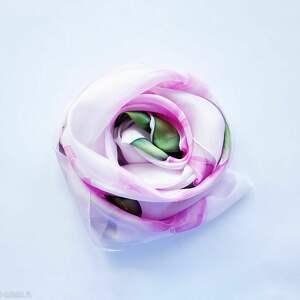Jedwabny malowany szal - magnolie szaliki jedwab magnolie