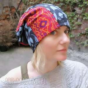 czapka damska patchwork etno boho, czapka, smerfetka, dresowa, patchwork,