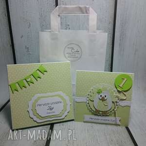 Zestaw - słonikowe urodziny w zieleni scrapbooking kartki the