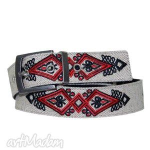 pasek haftowany w motywy góralskie - pas, pasek, skóra, len, haft