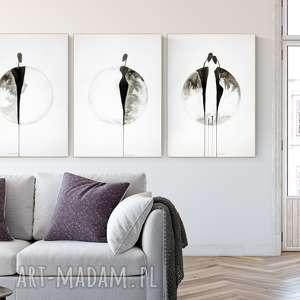 zestaw 3 grafik 50x70 cm wykonanych ręcznie, plakat, abstrakcja, elegancki minimalizm