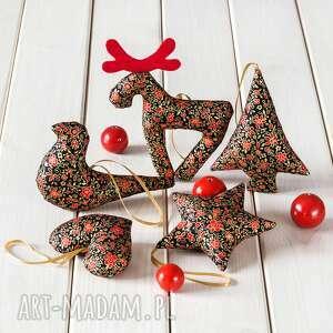 ozdoby choinkowe czarne w czerwono złote ornamenty, 5 szt, bożenarodzenie, święta