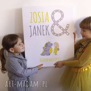 Prezent OBRAZ LED personalizowany dla brata i siostry imiona prezent rodzeństwa