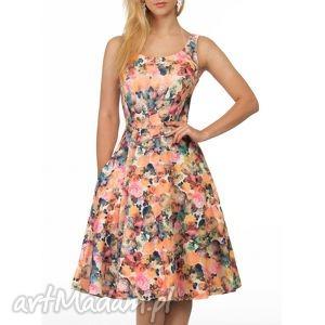 sukienki sukienka liza midi celine, rozkloszowana, kwiaty, lato, ramiączka