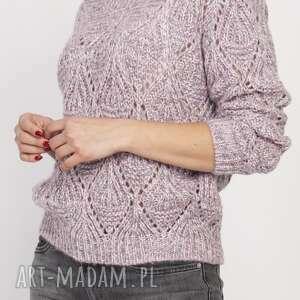 Ażurowy sweter, swe123 róż swetry lanti urban fashion piękny