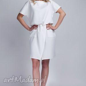 sukienki sukienka, suk117 ecru, casual, kokardka, kieszenie, biała, midi