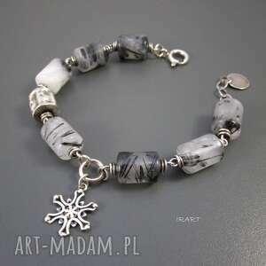 Śnieżynka z kwarcem turmalinowym, kwarc, srebro