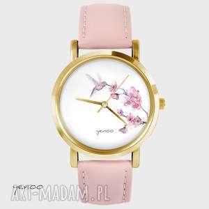 ręcznie robione zegarki zegarek - koliber - pudrowy róż, skórzany, złoty