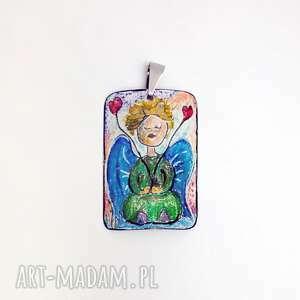 wisiorki anioł miłości dwojga serc wisiorek ręcznie rysowany i malowany