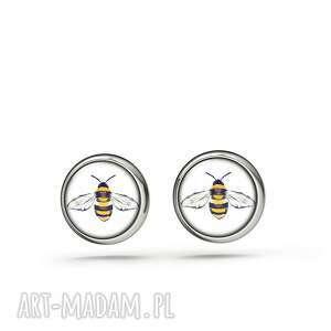 kolczyki sztyfty - pszczoła mini, kolczyki, sztyfty, małe