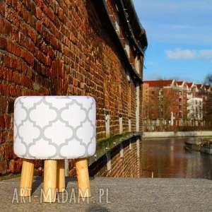 pufa koniczyna maroco biało - szara 36 cm, puf, taboret, hocker, vintage, siedzisko