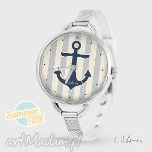 zegarki zegarek - kotwica summer time szary, zegarek, bransoleta, handmade
