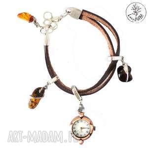 zegarek skÓrzany z bursztynami - skórzany-zegarek, zegarek, rzemienie, bursztyn