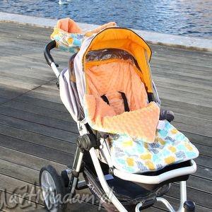 makaszka śpiworek minky do wózka fotelika na sanki hipcio w pomarańczach