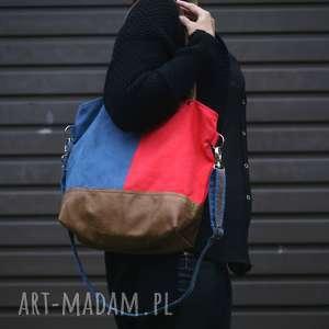 torebka miejska koral granat - czerwona torebka, granatowa torba, kolorowa torebka