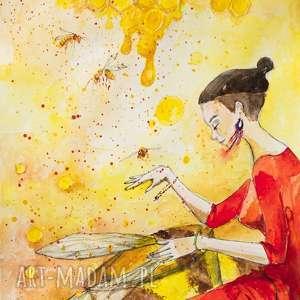 miodna szamanka akwarela artystki plastyka adriany laube, kobieta