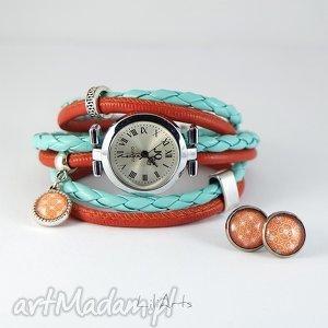 komplet - zegarek i kolczyki pomarańczowy, turkusowy owijany, rzemienie