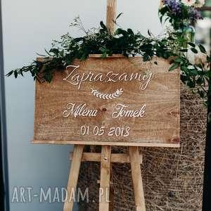 tablica powitalna na wesele / witająca gości, tablica, drewniana