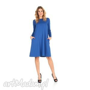2-sukienka rozkloszowana szafirowa,długa, lalu, sukienka, dzianina,